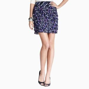 Ann Taylor ikat tiered fringe skirt deep abyss 10